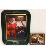 Coca Cola Tray Tin Santa Claus Drinking Coke Green Rectangle & Playing C... - $12.86