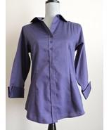 Red House Ladies 3/4 Sleeves Nailhead Non Iron Shirt Dark Solid Purple S... - $23.10