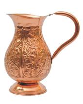 Copper Beautiful Nakkashi Design 1500ML Jug Ayrvedic Heath Benefit Produ... - $43.91
