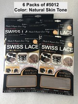 "Lot of 6 QFITT MAKE & REPAIR LACE WIGS SWISS LACE FOR WIG MAKING # 5012 15""X15"""