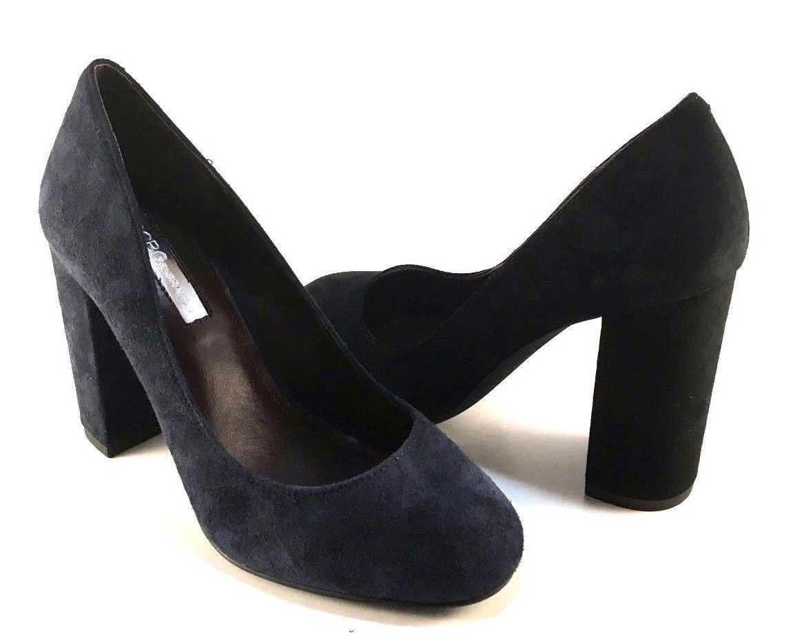 424567348 S l1600. S l1600. Previous. BCBGeneration Franka Navy Suede Leather Round  Toe Thick Heel Pumps