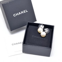 Authentic Chanel Classic Crystal CC Pearl Silver Dangle Drop  Earrings  image 5