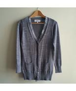 Victoria's Secret Metallic Lurex Cardigan Sweater, Soft, Ruffles, Gray, ... - $19.38