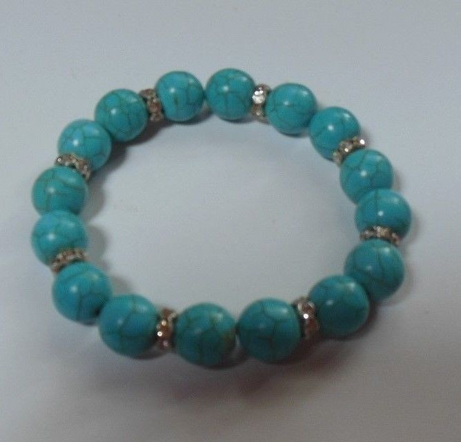 Faux Turquoise Stretch Bracelet With Rhinestone Spacers