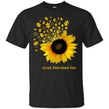 Autism Sunflower Accept Understand Love Shirt S-6XL Men Black - £13.01 GBP+