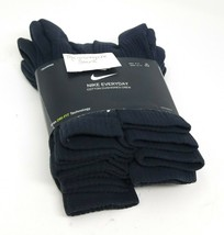 Nike Crew Socks L Men 8-12 Women 10-13 Black Cotton Cushioned Dri Fit 6 Pairs image 2