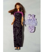 Vintage Barbie Doll 1966 Retro Mod Auburn Hair Bangs W/2 Dress & Purple ... - $25.40