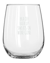 Bra Off Hair Up Sweats On Wine Gone Funny 17oz Wine Glass - Unique Chris... - $24.19 CAD