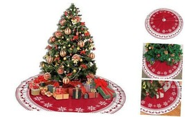 """Christmas Tree Skirt Buffalo Plaid Tree Skirt Christmas 48"""" Snowflake - $30.35"""