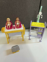 Mattel Barbie Baby Krissy Lot with nursery scale twin changing table sca... - $49.45