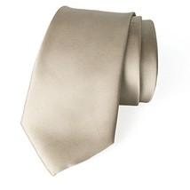 Spring Notion Men's Solid Color Satin Microfiber Tie, Regular Champagne
