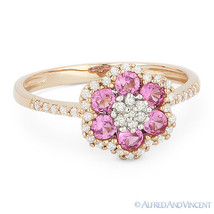 0.74ct Round Cut Pink Lab-Sapphire Diamond 14k Rose Gold Right-Hand Flow... - £475.23 GBP