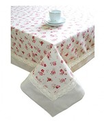 "Provence Cotton Tablecloth with Cotton Lace in French Country Style, 55""... - $69.35"