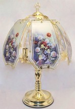 Flower Bouquet Glass Panel Polished Brass Finish Touch Lamp NEW - $39.99