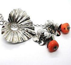 925 Silber Halskette, Herz Wellig, Wasserfall, Blüten, Cluster, Koralle image 2
