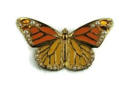 Vintage Jewelry Brooch Pin Signed Butterfly Enamel Faux Pearls Fabulous  - $14.93