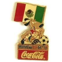 Coca Cola Mexico World Cup 1994 Lapel Pin Flag Striker the Dog Soccer Ball - $13.99