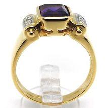 SOLID 18K YELLOW GOLD BAND RING, DIAMONDS & PURPLE AMETHYST, EMERALD CUT image 3