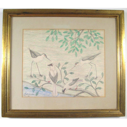 "Primary image for ""Birds"" By Lawrence Lebduska 1961 Signed Pencil and Crayon Drawing 21""x24"""
