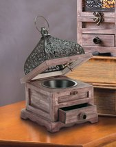 "4 Flip Top Candle Lanterns w/ Drawer Pine Wood w/ Black Iron Cutouts 8"" ... - $64.95"