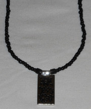 Handcrafted Black Glass Bead Beaded Necklace 21 inches With Reversible D... - $12.87