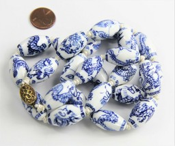 "26"" VINTAGE ESTATE CHINESE EXPORT PORCELAIN DRAGON BEAD NECKLACE SILVER ... - $65.00"