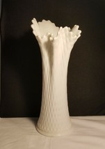 Westmoreland Nicely Pulled Diamond Quilt White Vase 13in Great Form Milk... - $22.95