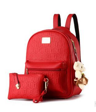 NEW Fashion Designed Women Backpack Leather School Casual Style Bag + Clutch