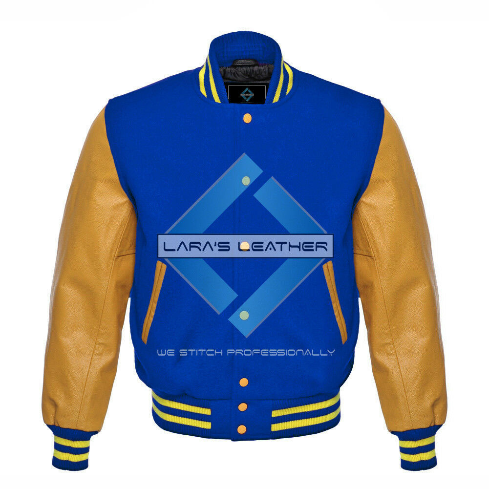 Primary image for Royal Blue Varsity Baseball Genuine Leather Sleeve Letterman College Wool Jacket