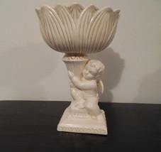 angel bowl, angel pedestal bowl, ceramic angel dish, angel pedestal bowl... - $22.50