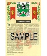 Carnes Coat of Arms (Armorial Name History) Family Crest 11x17 Print Scroll - $18.99