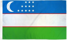 "UZBEKISTAN 3X5' FLAG NEW 3'X5' 3 X 5 FEET 36X60"" BIG - $9.85"