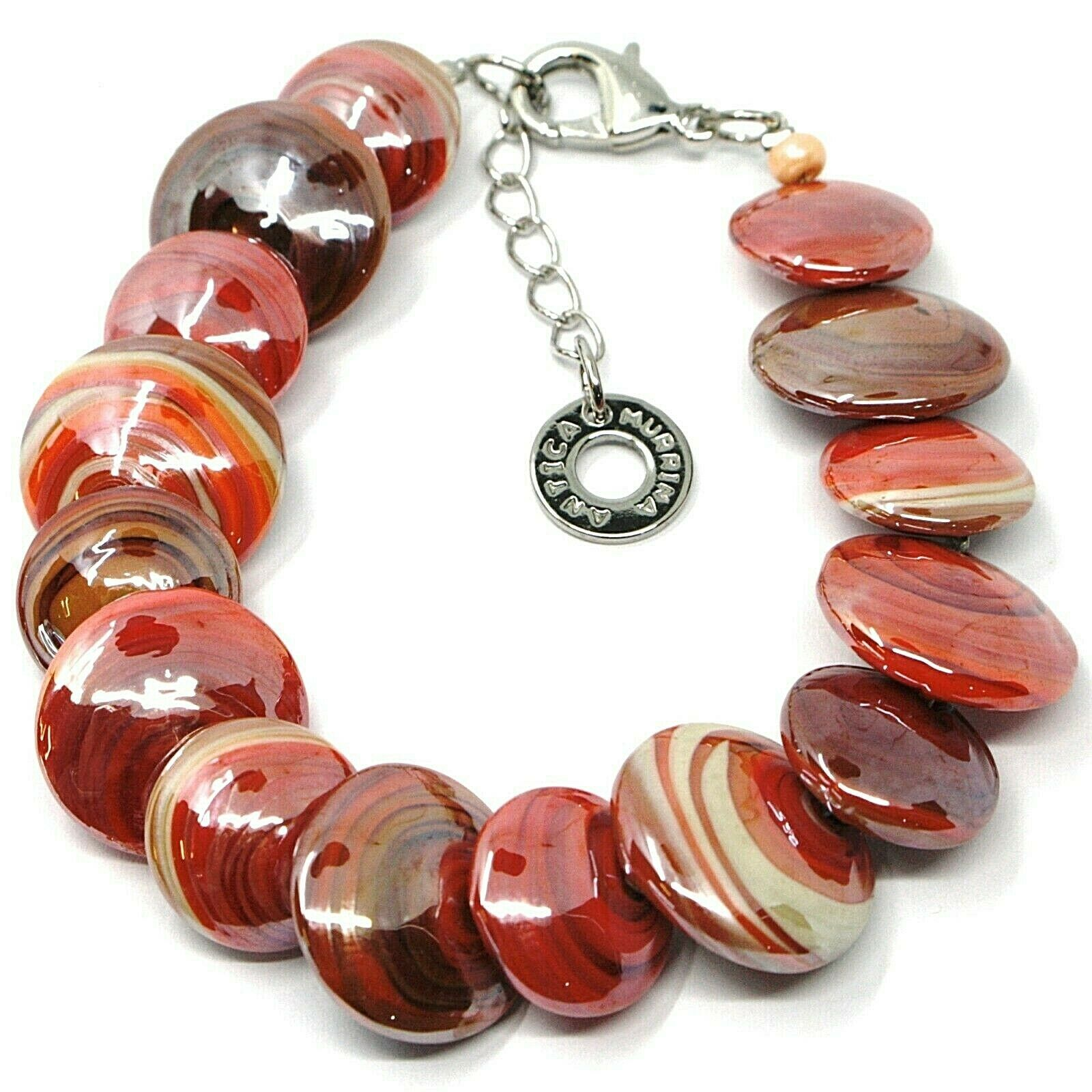 Bracelet Antica Murrina Venezia, BR715A25 Discs, Coins, Red Colour Coral