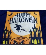Happy Halloween Pillow Cover 17.5 In x 17.5 In Pumpkin WITCH HOUSE - $12.87