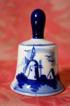 Vintage Hand painted WINDMILL Bell 3 in. tall  E.H. 13 Delft ? blue & white - $10.39