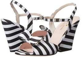 Women's Shoes Kate Spade IMARI Ankle Strap Sandals Bow Striped Satin Black White - $209.99