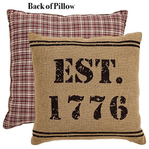 "Burlap Toss Pillow ""EST 1776"" Stenciled in Black 12""x 12"" Complete - £15.28 GBP"