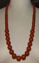 Terra Cotta Dark Orange Acrylic Graduated Bead Beaded Necklace Vintage - $23.76