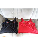 Samantha Stuart Womens Tops XL Black & Red Embroidered Flowers Sleeveles... - $24.99