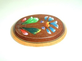 Wood Floral Brooch Pin Hand Painted Flowers Boho Vtg - $7.91
