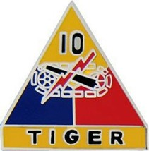 Army 10TH Armored Division Tiger Military Pin - $16.14
