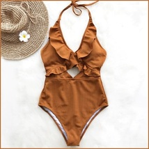 Ruffled Neck Halter Backless Padded Bra High Cut Carmel Color Monokini Swimsuit