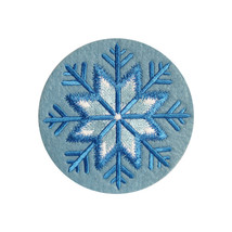 Snowflake Christmas Embroidered Blue Felt / Card Round Coasters 4inch/10cm - $3.17