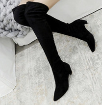 woman stretch over-the-knee Martin boot, cat heel, extra sizes, size 2-12, black - $58.80