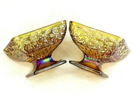 2 Vintage Indiana Carnival Glass Diamond Shaped Amber Yellow Pedestal Di... - $14.84