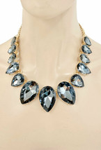 Statement Necklace Jewelry Set Dark Gray Teardrop Crystal Drag Queen Cas... - $33.25