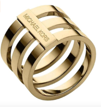 Brand New Michael Kors MKJ4038 Gold Stainless Steel Three Tier Women's Ring - $64.34