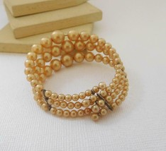 Vintage Antique Cream Faux Pearl Layered Triple Row Wrap Bracelet F16 image 2