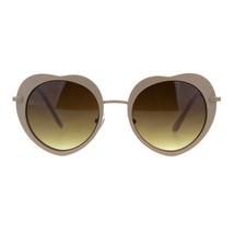 Round Heart Shape Sunglasses Womens Cute Metal Frame Heart Shades - $10.95