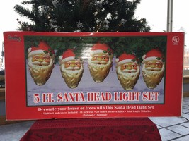 "New Christmas 5 Light 9"" Santa Head Blow Mold Light Set For Your House Or Trees - $29.69"